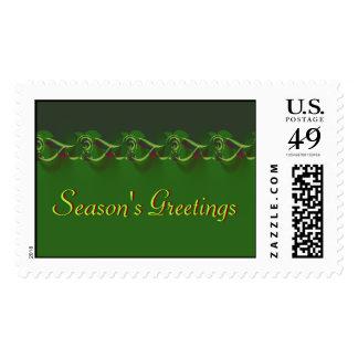 Season's Greetings Postage Stamps - Large