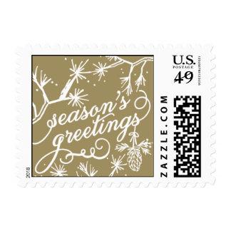 Seasons Greetings - Purple & Gold Postage