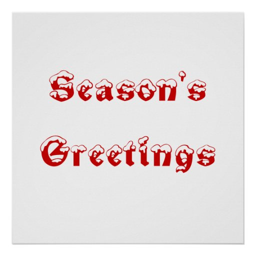 Season's Greetings. Red and White. Custom Poster