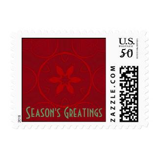 Season's Greetings, red bloom on red Postage