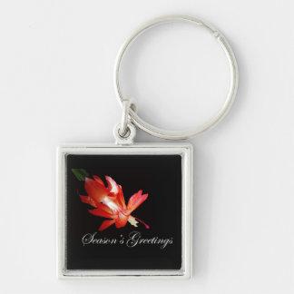 Season's Greetings Red Christmas Cactus Keychain