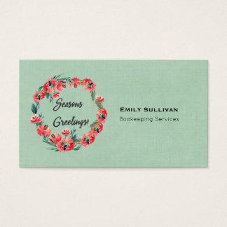 Seasons Greetings Red Floral Wreath And Retro Deer Business Card