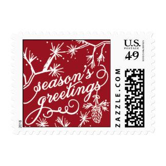 Seasons Greetings - Red & Light Blue Postage