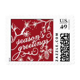 Seasons Greetings - Red & Light Blue Postage Stamp