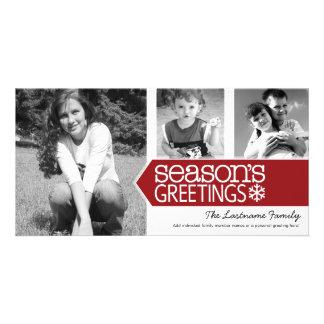 Seasons Greetings Red White - 3 photos Card