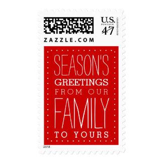 Season's Greetings Red | White Postage
