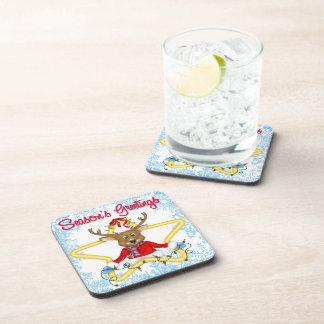 Season's Greetings Reindeer Drink Coaster Set (6)