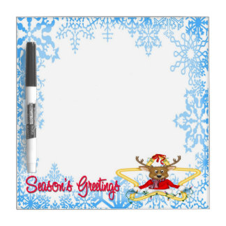 """Season's Greetings Reindeer Dry Erase Board 8""""x8"""""""
