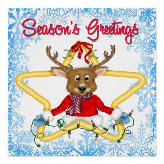 Season's Greetings Reindeer Poster