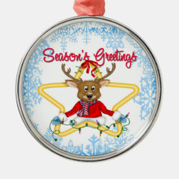 Season's Greetings Reindeer Premium Round Ornament
