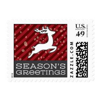 Seasons Greetings Reindeer- Red & Light Blue Postage
