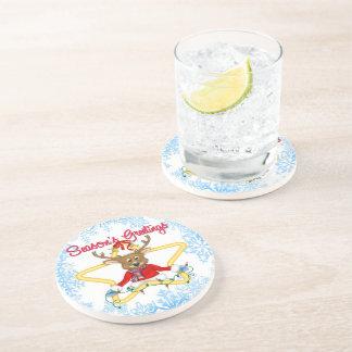 Season's Greetings Reindeer Sandstone Drink Coaste Drink Coaster