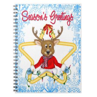 Season's Greetings Reindeer Spiral Notebook