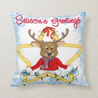 Season's Greetings Reindeer Throw Pillow