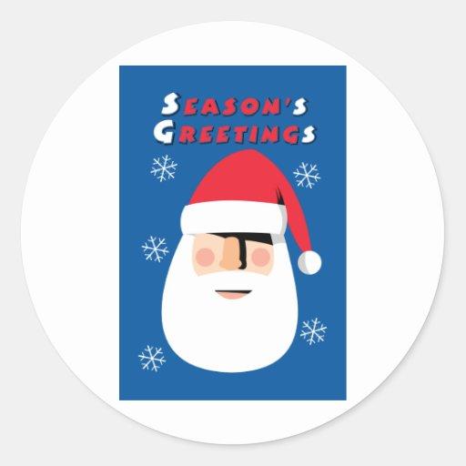 Season's Greetings Round Stickers