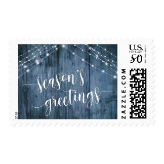 Season's Greetings Rustic Blue Wood & White Lights Postage