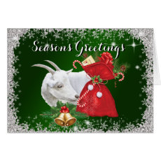Season's Greetings Saanen Goat Christmas Greeting Card