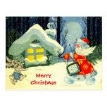 Seasons Greetings, Santa at work Postcard