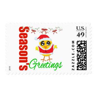 Seasons Greetings Santa Chick Stamp