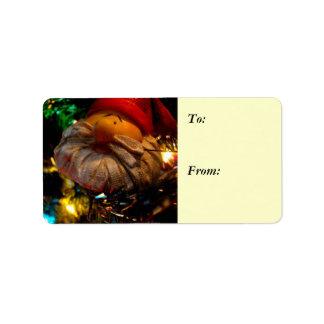Season's Greetings Santa Ornament Gift Label