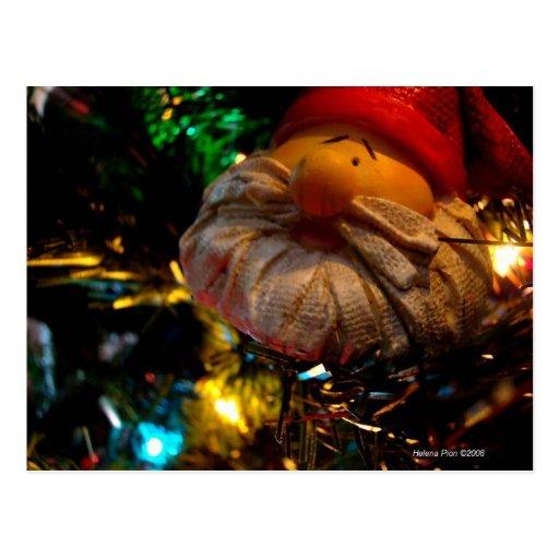Season's Greetings Santa Ornament Photo Postcard