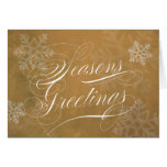 Seasons Greetings Script Gold with snowflakes Cards