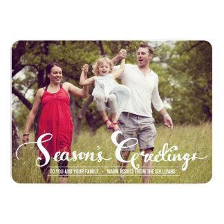 Season's Greetings Script Holiday Photo Flat Card Announcement