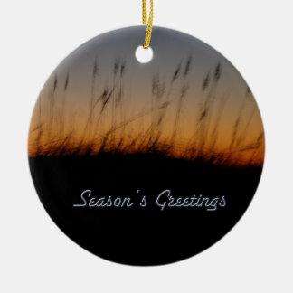Season's Greetings Sea Oats and Dunes at Sunset Ceramic Ornament