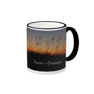 Season's Greetings Sea Oats and Dunes at Sunset Ringer Coffee Mug