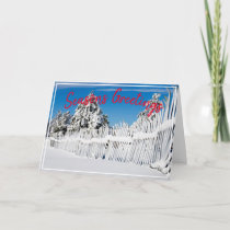 Seasons Greetings Snow Ski Photo Placeholder Holiday Card