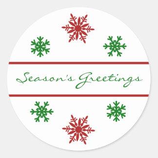 Season's Greetings Snowflake Christmas Gift Tag Stickers