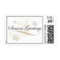 Season's Greetings Snowflake Postage Stamp