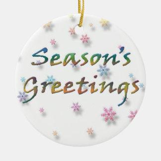 Season's Greetings Snowflakes Ceramic Ornament