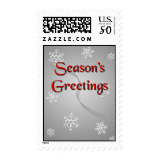 Season's Greetings Snowflakes on Silver Postage