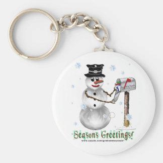 Seasons Greetings Snowman Keychain