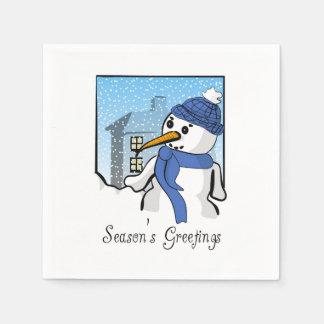 Season's Greetings Snowman Napkins Disposable Napkin