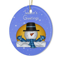 Season's Greetings Snowman Ornament