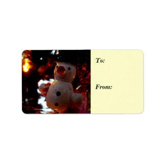 Season's Greetings Snowman Ornament Gift Label