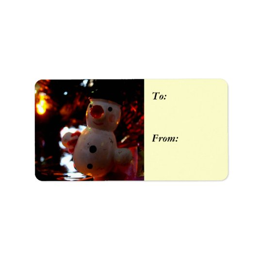 Season's Greetings Snowman Ornament Gift Label