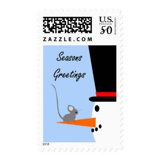 Seasons Greetings Snowman Postage