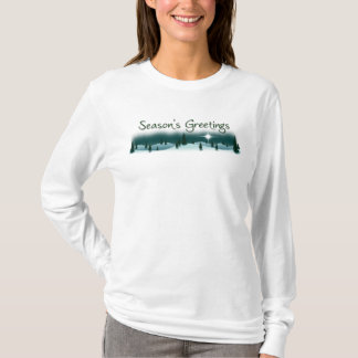 Season's Greetings Snowy Mountain Ladies LS Tee
