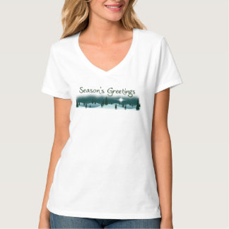 Season's Greetings Snowy Mountain Ladies V-Neck T T-Shirt