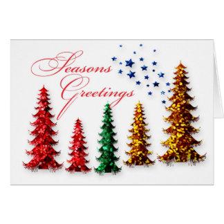 Seasons Greetings Sparkly Trees Card
