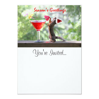 Season's Greetings Squirrel 5x7 Paper Invitation Card