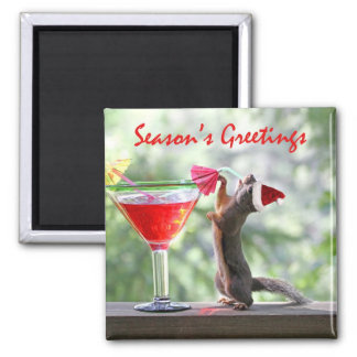 Season's Greetings Squirrel Magnet