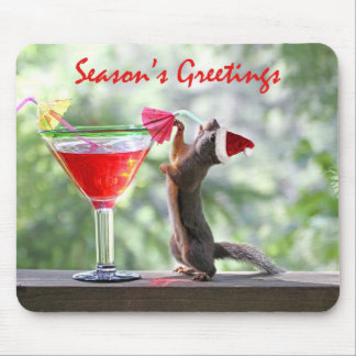 Season's Greetings Squirrel Mouse Pad