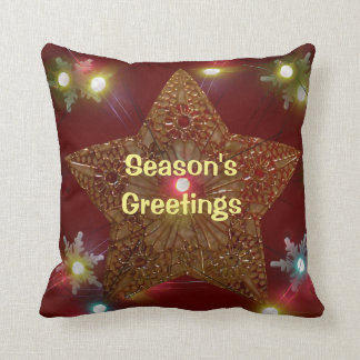 Season's Greetings Star Snowflakes Lights Throw Pillow