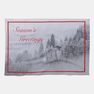 Season's Greetings Swiss Winter Kitchen Towel