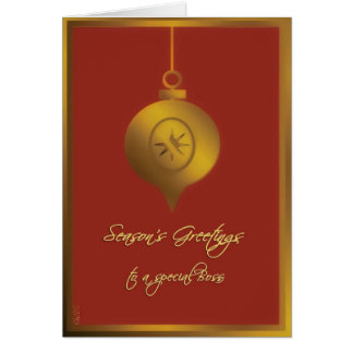 season's greetings to a special boss gold ornament card