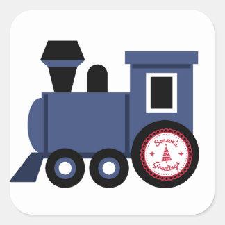 Seasons Greetings Train Square Sticker